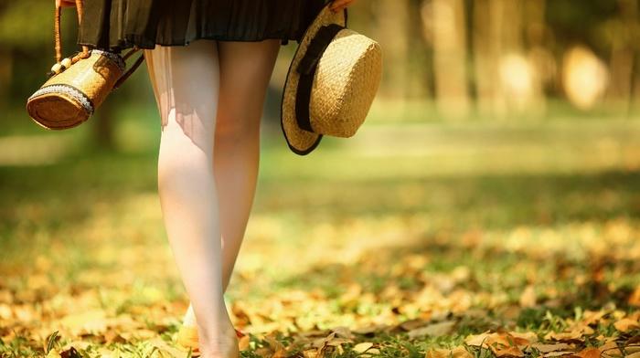 girl, depth of field, leaves, skirt, hat, girl outdoors, legs