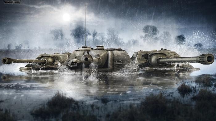 tank, video games, forest, World of Tanks, rain, underwater, military