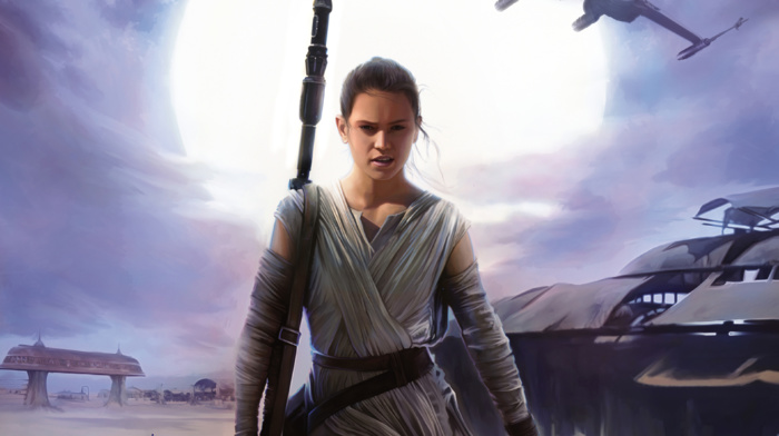 Daisy Ridley, Rey, Sun, Star Wars The Force Awakens, artwork, Jakku, Star Wars, movies