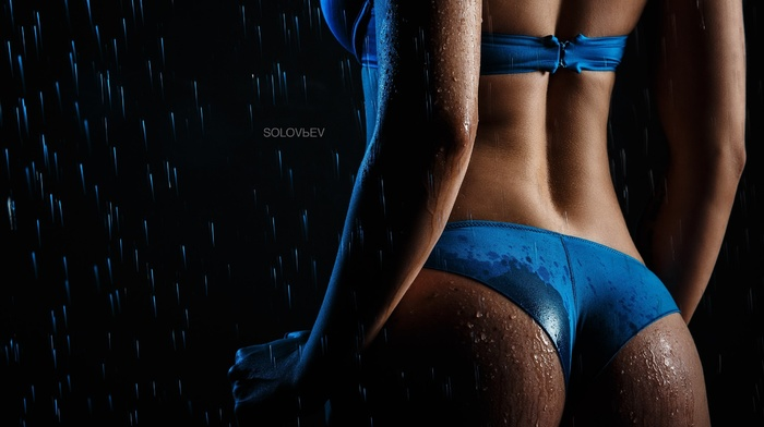 simple background, lingerie, Solovbev, back, water drops, girl, ass