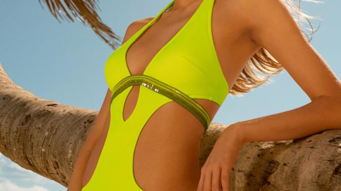 One, piece swimsuit, Tanya Mityushina, auburn hair, girl outdoors, portrait display, model, swimwear, beach, girl, looking away