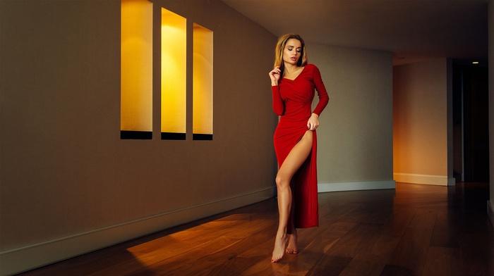 Ekaterina Zueva, red dress, model, girl, dress