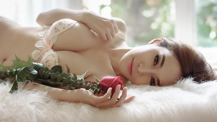 Asian, boobs, model, flowers, girl