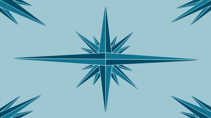Windrose, triangle, blue, geometry, minimalism