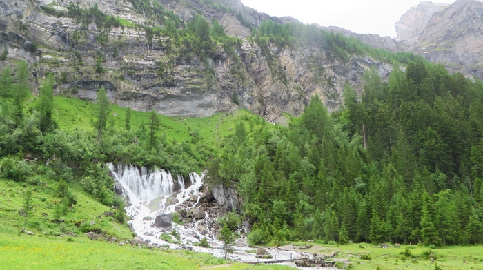 Bernese Alps, mountains, Swiss Alps, Simmen Falls, Alps, Switzerland, water, green