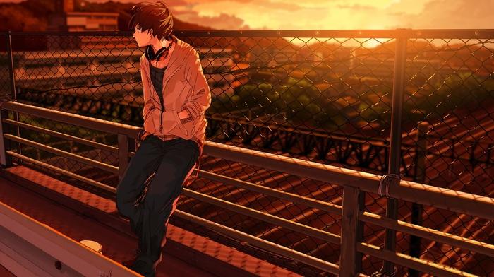 anime, landscape, bridge