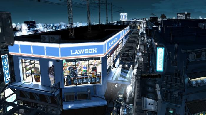 city, anime, landscape, night