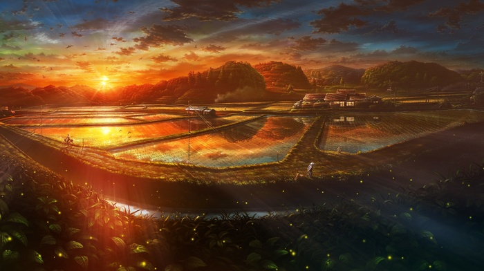 landscape, Japan, farm, anime