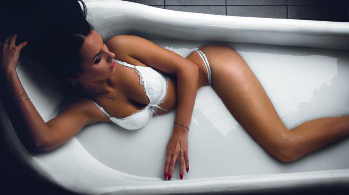 bath, panties, cleavage, wet, lingerie, milk bath, bathtub, wet body, white lingerie, bra, bathing