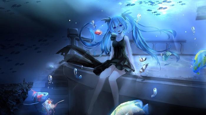 Hatsune Miku, underwater, fish, anime girls, Vocaloid, anime, water