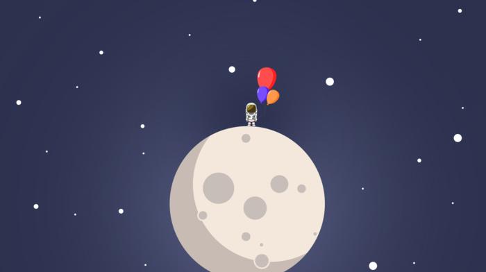 moon, ball, love, stars, blue, night, space, sky, illustration, astronaut