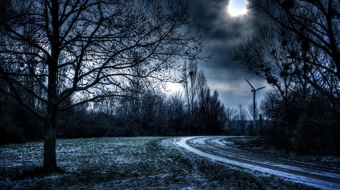wind turbine, trees, dark, sunlight, road