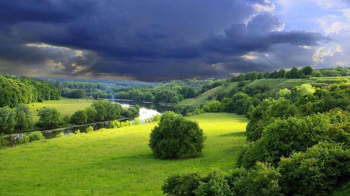 river, landscape, storm
