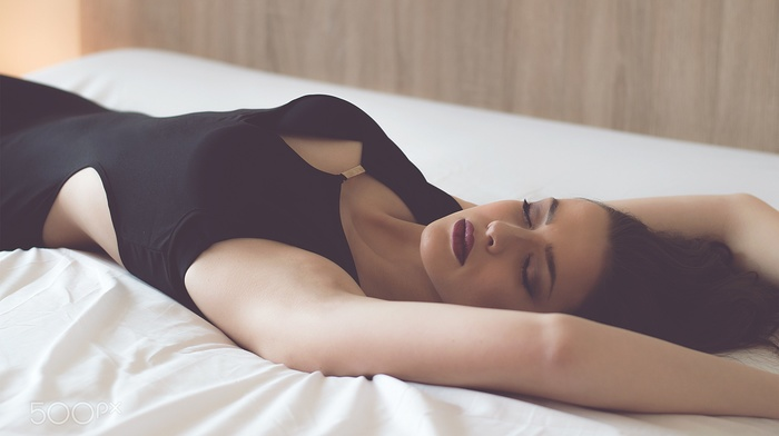 sideboob, brunette, black dress, face, arms up, lying on back, red lipstick, girl, no bra, classy, closed eyes, armpits, dress