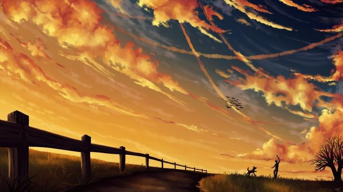 trees, animals, birds, nature, landscape, dog, fence, painting, pet, silhouette, men, clouds, grass, wood, sunset, field, dirt road, digital art