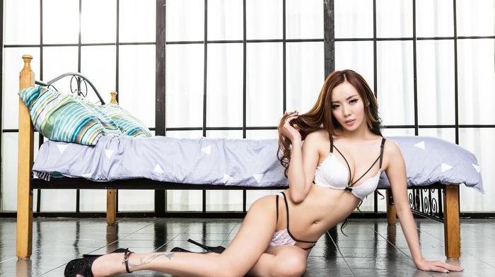 tattoo, on the floor, Asian, girl, pierced navel, high heels, bed, lingerie