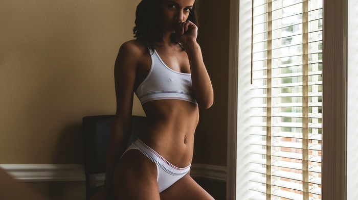 Lily Petrone, nipples through clothing, nose rings, window, pierced navel, looking at viewer, underwear, pierced nipples, girl, model, brunette, Justin Swain