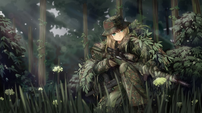 anime, forest, army, snipers