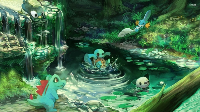 Pokmon, waterfall, play, water