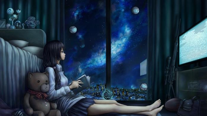 reading, anime girls, calm, teddy bears, space, night, rifles, anime