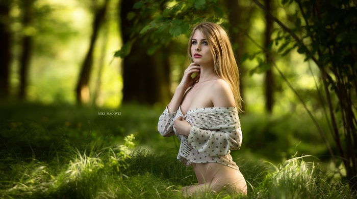 no bra, red lipstick, squatting, girl, strategic covering, depth of field, Venkara Capris, Miki Macoveli, grass, blonde, colorful, forest, girl outdoors, blue eyes, pale, bottomless