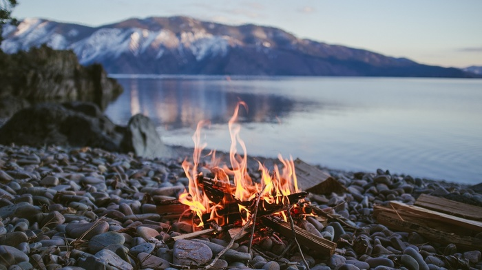 campfire, fire, nature, stone, water, depth of field, lake, stones