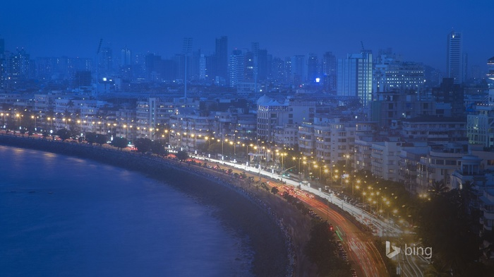 mumbai, building, cityscape, lantern, water, city, night, traffic, Bing