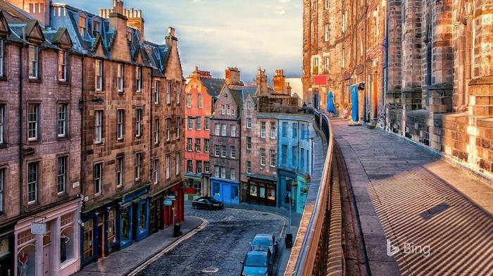 Edinburgh, vehicle, street, city, house, stores, urban, Bing, car