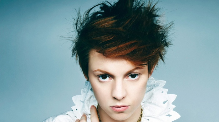 redhead, blue, Elly Jackson, brown eyes, La Roux, portrait, girl