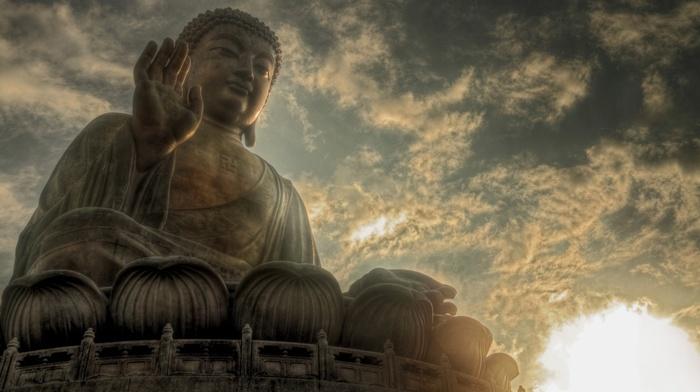 evening, Buddha, statue, religion, meditation