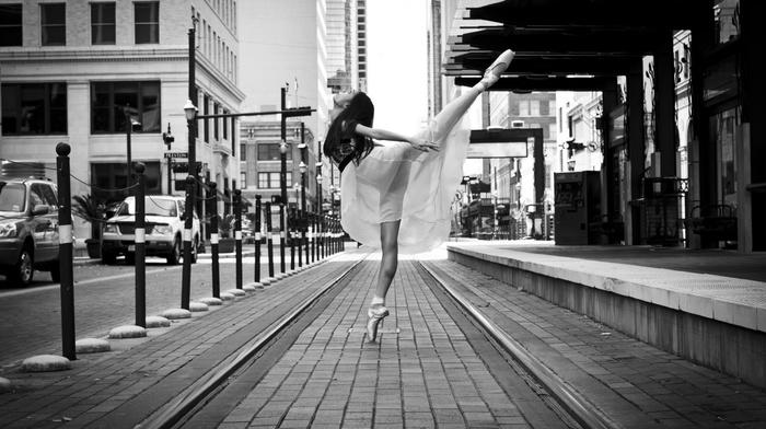 spread legs, looking up, ballerina, legs, city, ballet
