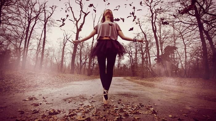 ballet, ballerina, road