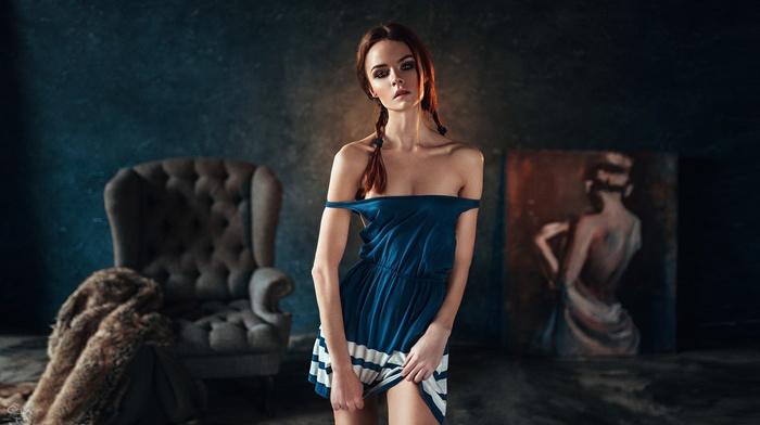 blue eyes, bare shoulders, cleavage, skinny, depth of field, girl, chair, dress, the gap, face, painting, portrait, no bra, smoky eyes, standing, model, redhead, braids, wide jaw, Georgy Chernyadyev, petite