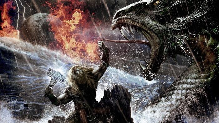 medieval, viking death metal, Thor, battle, Fantasy Battle, warrior, melodic death metal, Amon Amarth, fantasy art, viking metal, Mjolnir, digital art, death metal