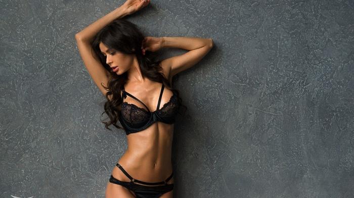 wall, arms up, black lingerie, brunette, girl