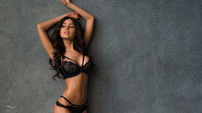 brunette, wall, black lingerie, girl, arms up