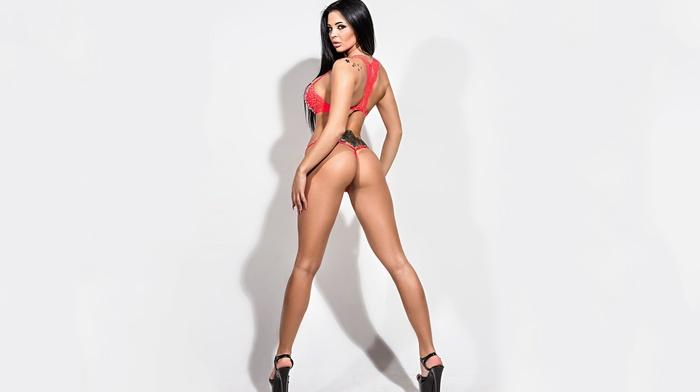 ass, brunette, Audrey Bitoni, girl, simple background, model, tattoo, red lingerie, high heels