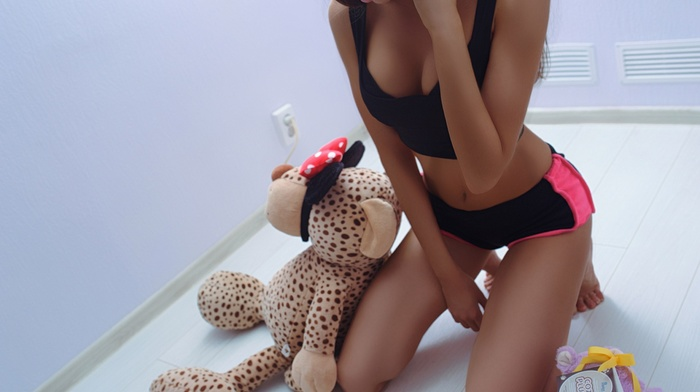 teddy bears, kneeling, girl, anyuta rai, black tops, shorts, brunette, closed eyes