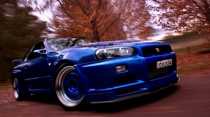 Nissan Skyline, nissan gtr, blue cars, car, Nissan Skyline GT, R R34, motion blur, Nismo, Nissan
