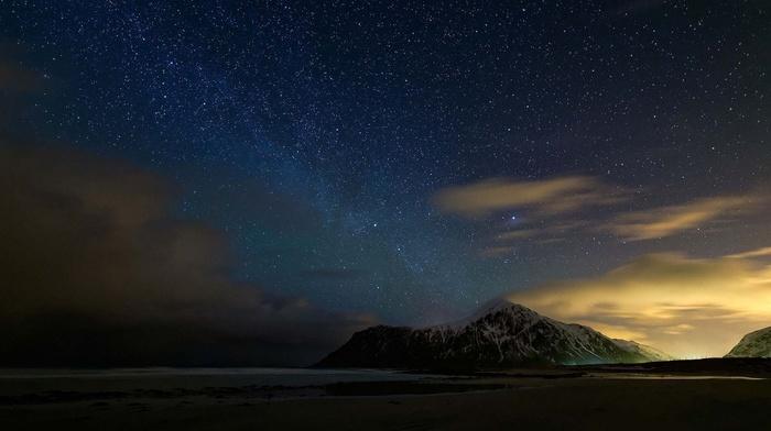 long exposure, lights, snowy peak, sea, mountains, sky, nature, landscape, Milky Way, starry night, clouds, beach, Arctic