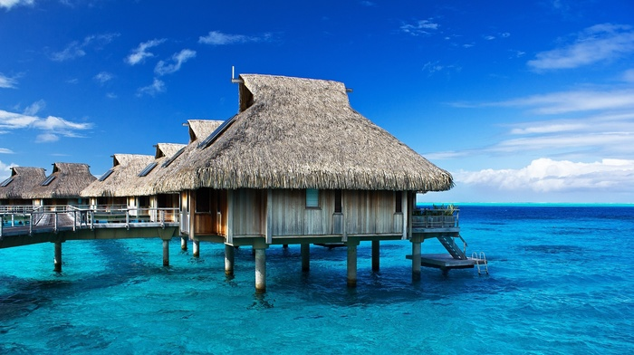 morning, sea, nature, bungalow, photography, beach, French Polynesia, sunlight, Bora Bora, resort, landscape, tropical