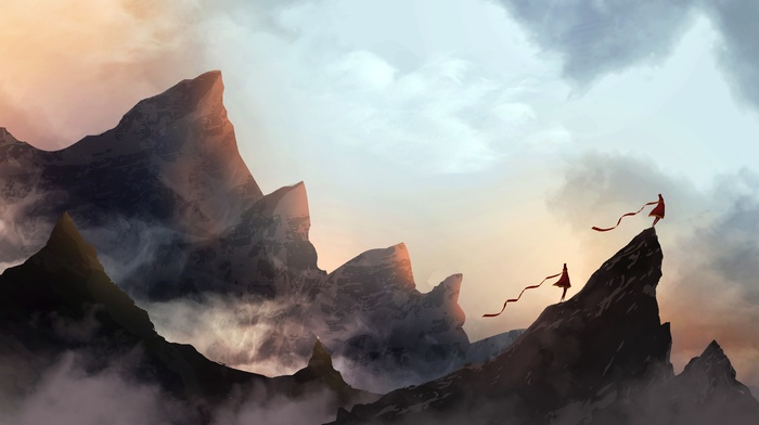 couple, mountains, Journey game, mist