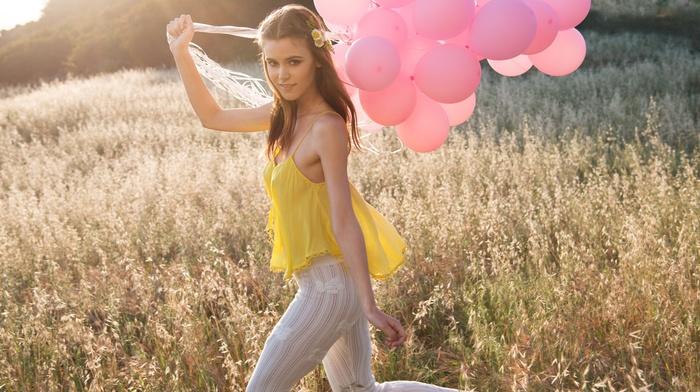 no bra, Amberleigh West, brunette, field, nipples through clothing, girl, yellow clothing, balloon