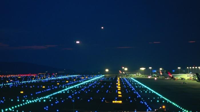 night, lights, airplane, airport