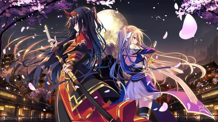original characters, long hair, anime girls, sword, katana, samurai, armor, cherry blossom