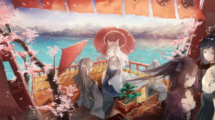 Japanese clothes, cherry blossom, kimono, Pixiv Fantasia, Japanese umbrella