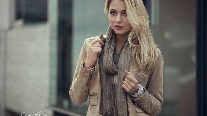 brown eyes, depth of field, face, blonde, girl, portrait, scarf, Dicky Efendi, girl outdoors