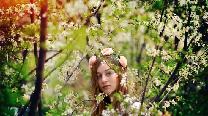 girl outdoors, model, plants, flowers, girl