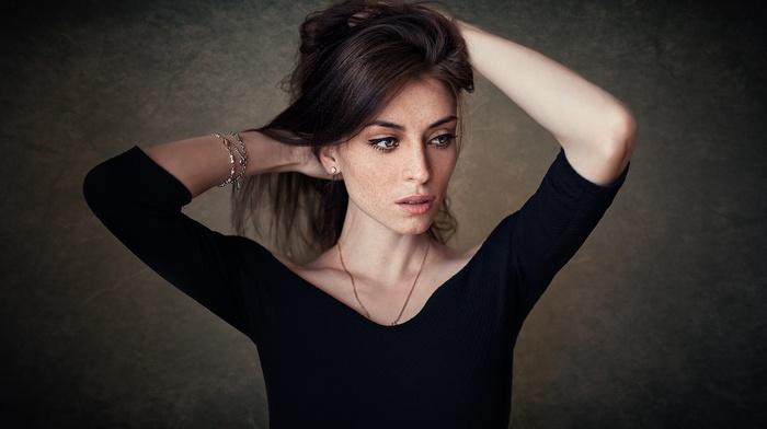 hands in hair, portrait, eyeliner, Dmitry Shulgin, freckles, girl, blue eyes, looking away, arms up, brunette, black clothing, face