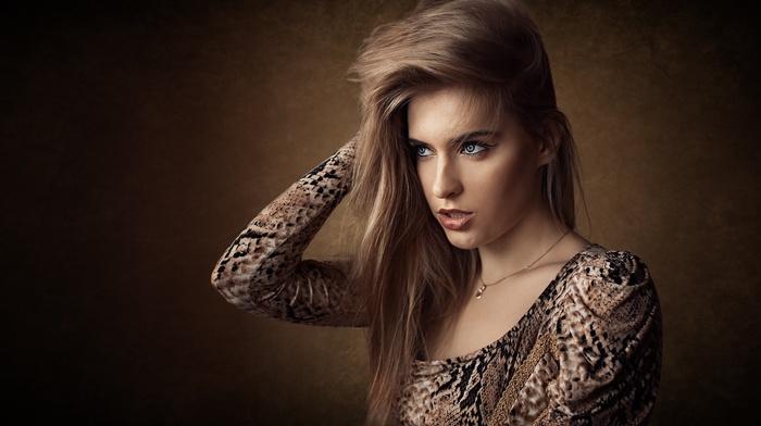 dress, blue eyes, portrait, necklace, brunette, girl, Dmitry Shulgin, face